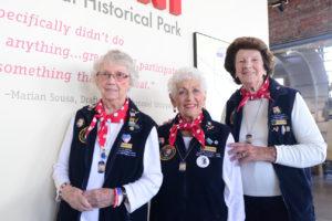 "(l-r) Volunteer ""Rosies"" Marian Sousa, Kay Morrison, and Marian Wynn"