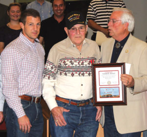 """Cowboy"" Morris travelled to Tahlequah, Oklahoma to receive an honor from his heritage, the Cherokee Nation. Travelling with him was  family including his grandson Congressman Markwayne Mullin. The award reads: The Cherokee Nation presents the Medal of Patriotism and the Warrior Award in Appreciation of Military Service to Kenneth Morris U.S. Army."
